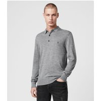 AllSaints Men's Merino Wool Lightweight Mode Long Sleeve Polo Shirt, Grey, Size: XL