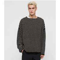 AllSaints Men's Stripe Larik Crew Jumper, Black and Grey, Size: S