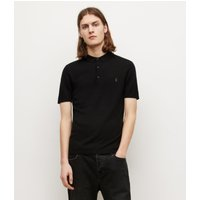 AllSaints Men's Merino Wool Slim Fit Mode Short Sleeve Polo Shirt, Black, Size: L