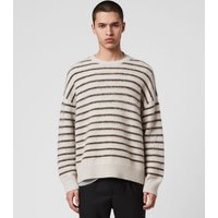 AllSaints Men's Wool Stripe Finon Crew Jumper, White and Black, Size: M