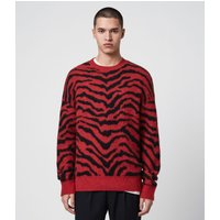 AllSaints Men's Tigre Crew Jumper, Red and Black, Size: XS