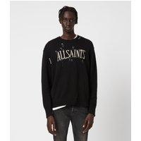 AllSaints Men's Cotton Destroy Saints Crew Jumper, Black, Size: M