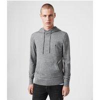 AllSaints Men's Lightweight Merino Wool Mode Pullover Hoodie, Grey, Size: XXL
