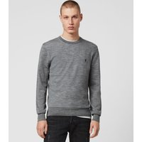 AllSaints Men's Merino Wool Lightweight Mode Crew Jumper, Grey, Size: M