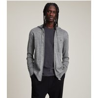 AllSaints Men's Merino Wool Lightweight Mode Zip Hoodie, Grey, Size: L