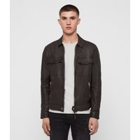 AllSaints Men's Leather Regular Fit Garter Jacket, Grey, Size: S