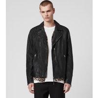AllSaints Men's Leather Bondi Biker Jacket, Black, Size: L