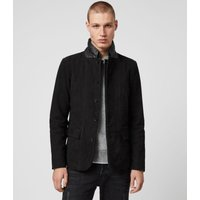 AllSaints Men's Leather Slim Fit Survey Blazer, Black, Size: XS
