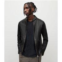 AllSaints Men's Sheep Leather Cotton Traditional Cora Jacket, Black, Size: XXL