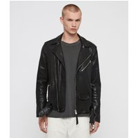 AllSaints Men's Leather Roundhouse Biker Jacket, Black, Size: M
