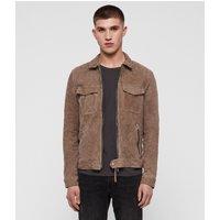 AllSaints Men's Goat Leather Regular Fit Garter Suede Jacket, Grey, Size: S
