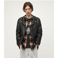 AllSaints Men's Leather Slim Fit Milo Biker Jacket, Black, Size: XXL