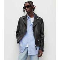 AllSaints Men's Leather Slim Fit Milo Biker Jacket, Black, Size: XL