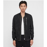 AllSaints Men's Leather Slim Fit Kino Bomber Jacket, Black, Size: XL