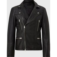 AllSaints Men's Sheep Leather Regular Fit Catch Biker Jacket, Black, Size: S