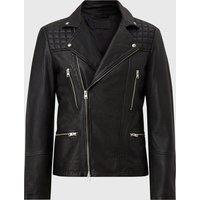 AllSaints Men's Leather Regular Fit Catch Biker Jacket, Black, Size: M