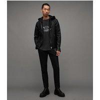 AllSaints Men's Leather Slim Fit Harwood Biker Jacket, Black, Size: XS