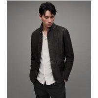 AllSaints Men's Slim Fit Wool Survey Leather Blazer, Black, Size: XS
