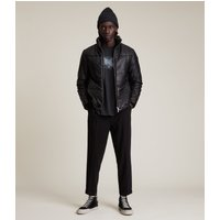 AllSaints Men's Lamb Leather Slim Fit Coronet Puffer Jacket, Black, Size: M