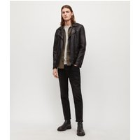 AllSaints Men's Leather Quilted Regular Fit Traditional Conroy Biker Jacket, Black, Size: XXL