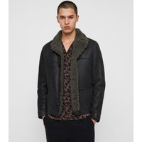 AllSaints Men's Dyed Sheepskin Slim Fit Garrick Shearling Jacket, Black, Size: S