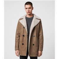 AllSaints Men's Slim Fit Kenley Shearling Coat, Brown and Natural, Size: S