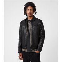 AllSaints Men's Leather Regular Fit Lark Jacket, Black, Size: XL