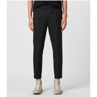AllSaints Men's Cotton Traditional Tallis Cropped Slim Trousers, Black, Size: 36
