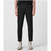 AllSaints Men's Cotton Traditional Tallis Cropped Slim Trousers, Black, Size: 34