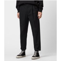 AllSaints Men's Cotton Traditional Tallis Cropped Slim Trousers, Black, Size: 31