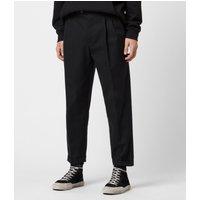 AllSaints Men's Cotton Traditional Tallis Cropped Slim Trousers, Black, Size: 32