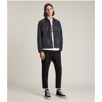 AllSaints Men's Cotton Slim Fit Kato Cropped Trousers, Black, Size: 31