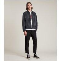 AllSaints Men's Cotton Slim Fit Kato Cropped Trousers, Black, Size: 31
