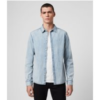 AllSaints Men's Cotton Regular Fit Darton Denim Shirt, Blue, Size: S