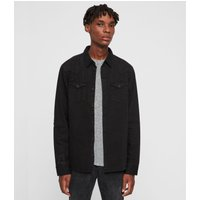 AllSaints Men's Cotton Regular Fit Biso Denim Shirt, Black, Size: S