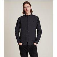 AllSaints Men's Cotton Slim Fit Huntingdon Long Sleeve Shirt, Black, Size: L
