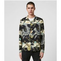 AllSaints Men's Traditional Descent Long Sleeve Shirt, Black, Size: M