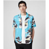 AllSaints Men's Birdseye Lightweight Hida Shirt, Blue, Size: L