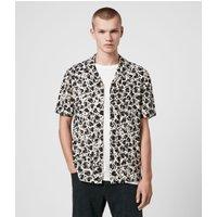 AllSaints Men's Lightweight Heartbreak Short Sleeve Shirt, Black, Size: XXL