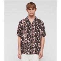 AllSaints Men's Stripe Slim Fit Feline Shirt, Orange, Black and White, Size: L