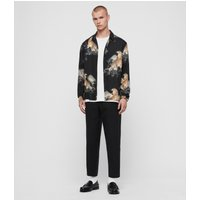 AllSaints Men's Floral Lightweight Kayan Long Sleeve Shirt, Black, Size: M