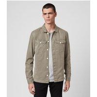 AllSaints Men's Cotton Slim Fit Spotter Shirt, Green, Size: XXL