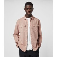 AllSaints Men's Cotton Slim Fit Spotter Shirt, Pink, Size: S