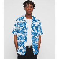 AllSaints Men's Palm Print Awa Short Sleeve Shirt, White and Blue, Size: M