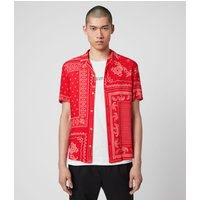 AllSaints Men's Cotton Bandana Print Lightweight Cherito Short Sleeve Shirt, Red, Size: XS
