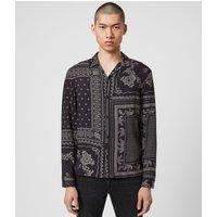 AllSaints Men's Bandana Print Lightweight Cherito Long Sleeve Shirt, Black, Size: L
