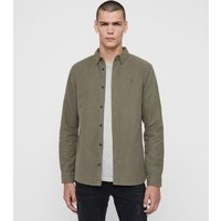 AllSaints Men's Cotton Lightweight Nordheim Shirt, Green, Size: XS
