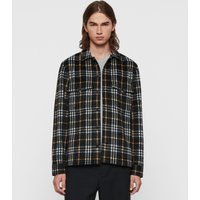 AllSaints Men's Wool Check Regular Fit Berthold Shirt, Black, Size: M