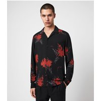 AllSaints Men's Floral Lightweight Arboretum Shirt, Black and Red, Size: M