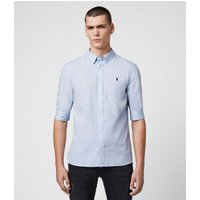 AllSaints Men's Cotton Slim Fit Redondo Half-Sleeve Shirt, Blue, Size: M